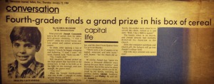Our local newspaper, The Statesman Journal, also did a fun little article on the 4th grade boy that scored paycheck courtesy of Cap'n Crunch.