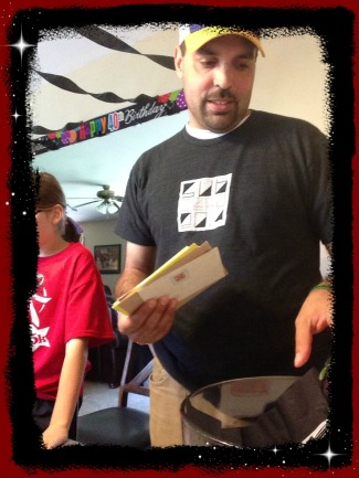 Joe opening cards