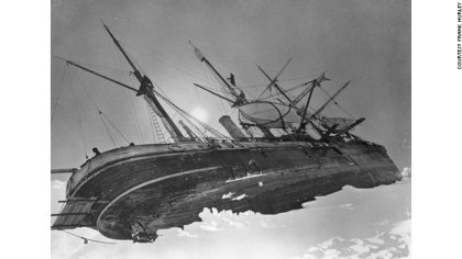 A picture of Shackleton's boat, The Endurance, trapped by the ice. (Picture courtesy of CNN media.)