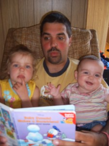 Me reading to BJ and CJ while we chilled out in the speaker's cabin.