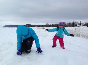 My two daughters, BJ & CJ, trying to walk on the ice of a very frozen Lake Michigan!