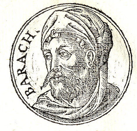 "Maybe it was the mustache that gave Barak entrance into the Hall of Faith in Hebrews 11? ""Promptuarii Iconum Insigniorum"" Published by Guillaume Rouille (1518?-1589) Wikimedia"